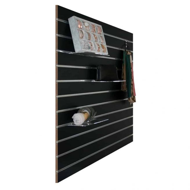 slatwall zwart 10cm met attributen